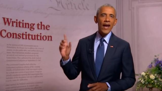 Former President Barack Obama at 2020 Democratic National Convention. [Image source/C-SPAN YouTube video]