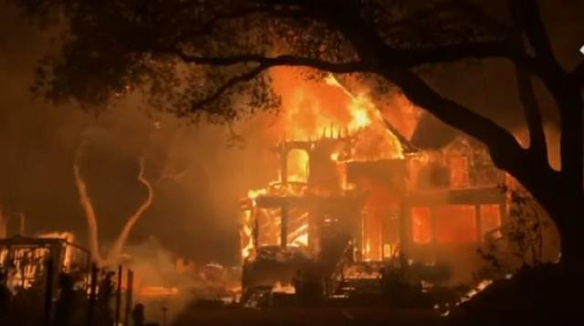 Napa Valley wildfire in California ravages homes and vineyards. [Image source/The Telegraph YouTube video]
