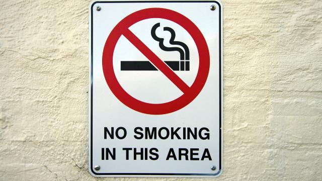 Il divieto di fumo alla fermata dei bus (a Milano).