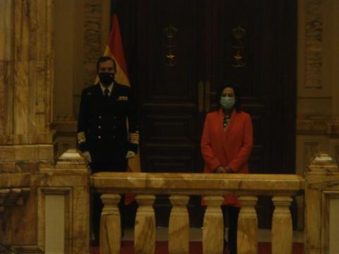 El nuevo AJEMA, almirante Martorell, y la ministra Robles, fue esta muy vehemente en sus reproches a Iglesias en la toma de posesión del anterior