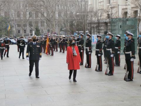 Pase de revista a las tropas antes de la ceremonia