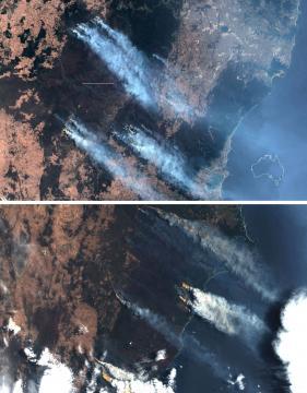 Immagini satellitari dell'incendio in Australia del 2019