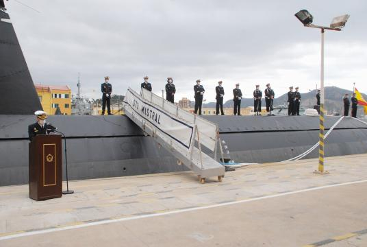Discurso de despedida al submarino Mistral en su relevo