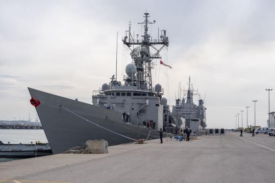 La fragata Reina Sofia en puerto al regreso de su participación en Atalanta
