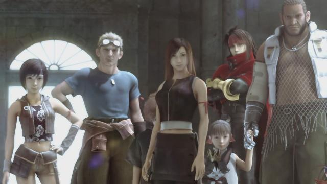 Yuffie Kisaragi nel film Final Fantasy VII Advent Children insieme agli altri protagonisti.