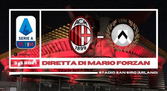 Milan - Udinese in diretta alle 20.45 per la 25ma di Serie A.