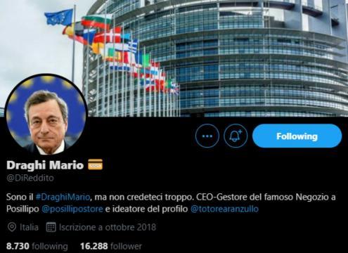 Il divertente profilo fake del Presidente Mariio Draghi su Twitter