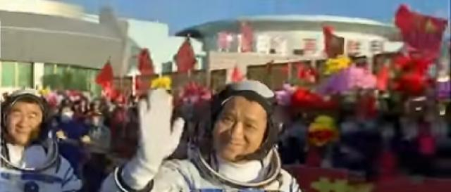 Rocket from China with 3-person crew docks at new space station. [Image source/FRANCE 24 English YouTube video]