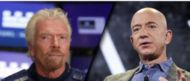 Billionaire space race pits Blue Origin of Jeff Bezos against Richard Branson's Virgin Galactic. [Image source/CNBC Television YouTube video]