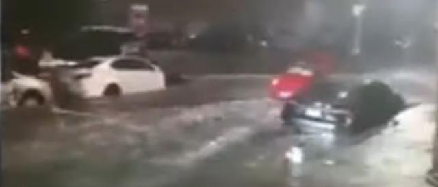 Flash flooding is occurring in Brooklyn, New York, as Hurricane Henri affects the area. [Image source/Ciobanu Fabian YouTube video]